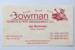 Business Card For Jay Muranaka of Bowman Termite & Pest Management