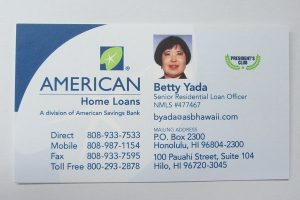 Business Card For Betty Yada of American Savings Bank