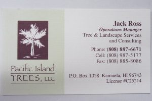 Business Card For Jack Ross of Pacific Island Trees
