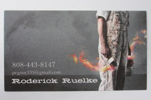 Business Card For Roderick Ruelke