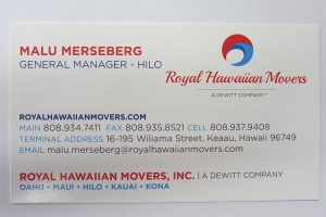Business Card For Malu Merseberg of Royal Hawaiian Movers