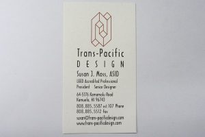 Business Card For Susan J. Moss of Trans-Pacific Design
