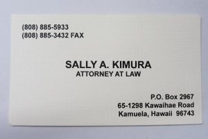 Business Card For Sally A. Kimura