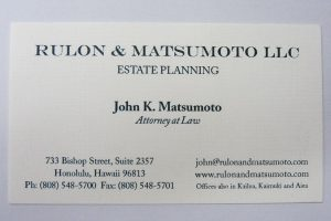 Business Card For John K. Matsumoto of Rulon & Matsumoto, LLC