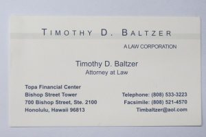 Business Card For Timothy D. Baltzer