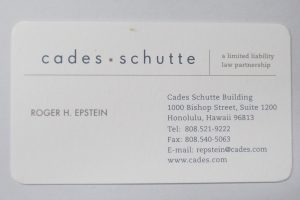 Business Card For Roger H. Epstein of Cades Schutte
