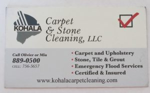 Business Card For Olivier of Mia of Kohala Carpet & Stone Cleaning, LLC