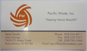 Business card for Pacific Waste Inc