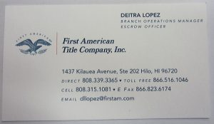 Business Card for First American Title Co