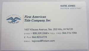 Business Card for First American Title Company