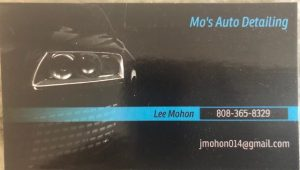 Business card for Mo's Auto Detailing
